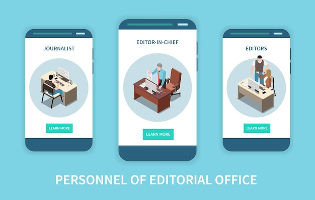 Personnel of editorial office isometric vertical banners set