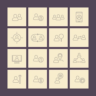 Personnel, human resources, hr line icons on squares, vector