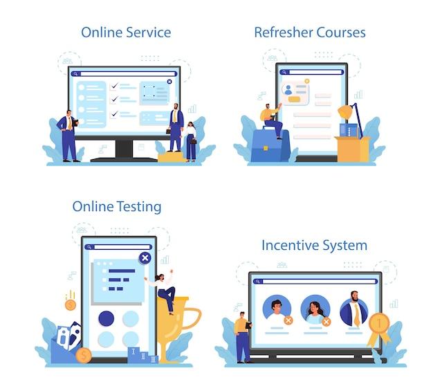 Personnel screening online service or platform set.