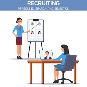 Personnel selection flat  banner template