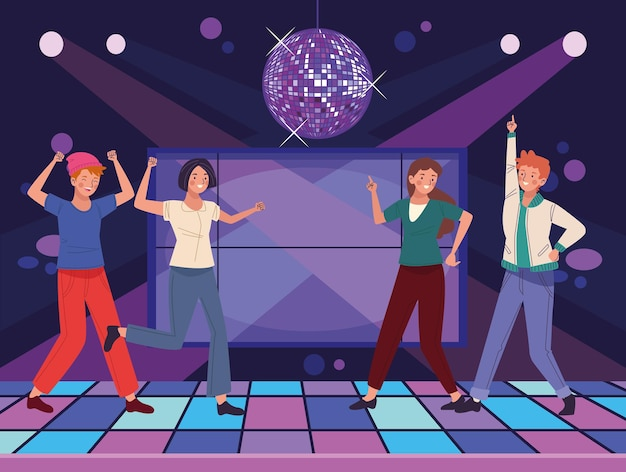 Persons dancing in disco