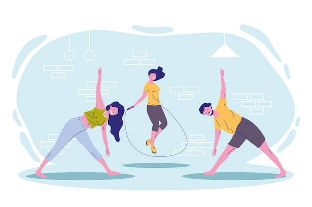 Persons fitness practicing sports characters