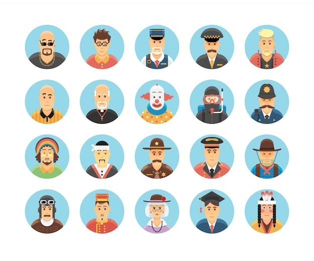 Коллекция икон лиц. набор иконок, иллюстрирующих занятия людей, образ жизни, нации и культуры.