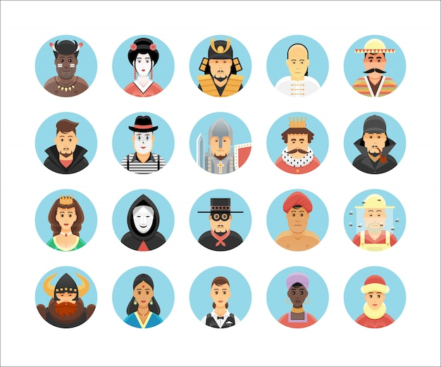 사람 아이콘 모음. 사람들의 직업, 생활 양식, 국가 및 문화를 보여주는 아이콘을 설정합니다.