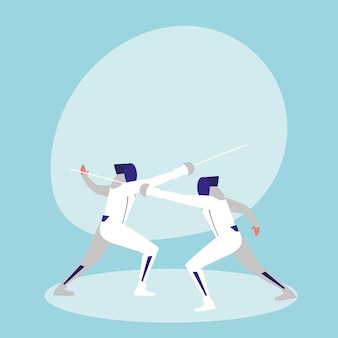 Persons practicing fencing avatar character
