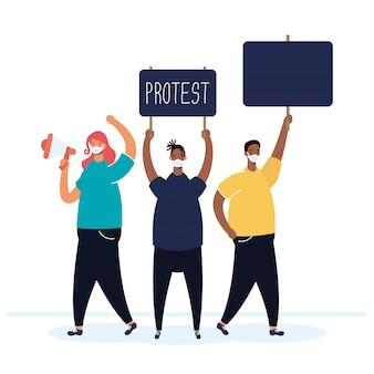 プラカードとメガホンのイラストで抗議する医療用マスクを着ている人