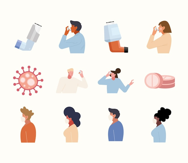 Persons with nebulizer and facial mask