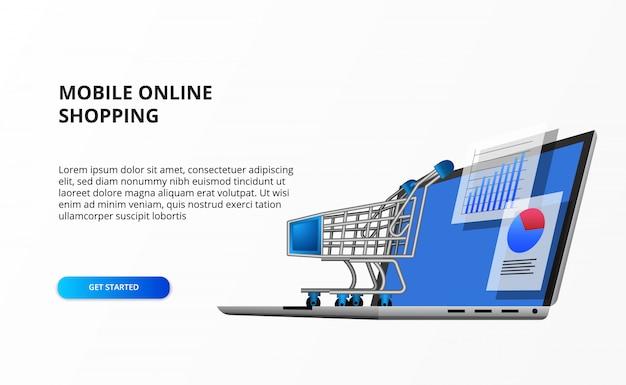 データ統計とトロリーカートの視点3dコンピューターラップトップイラスト。小売ショッピングデータオンラインビジネスeコマースの概念