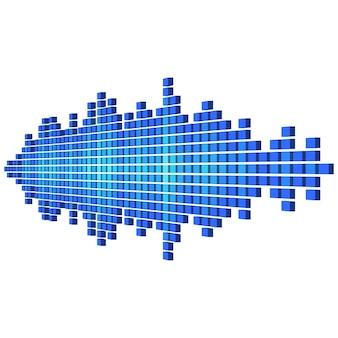 큐브로 만든 원근 파란색 사운드 파형