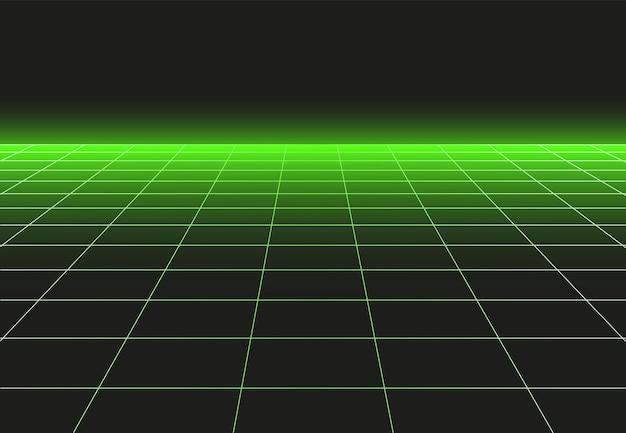 透視グリッドフロア。グラフィックのシンプルな水平セルで将来の壁紙やディスコダンスベクトルの背景の3d地平線表面のグリッド技術パターン