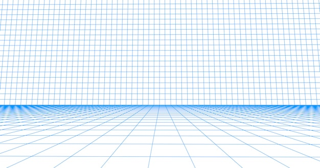 Perspective grid floor tile. detailed blue lines on white background.