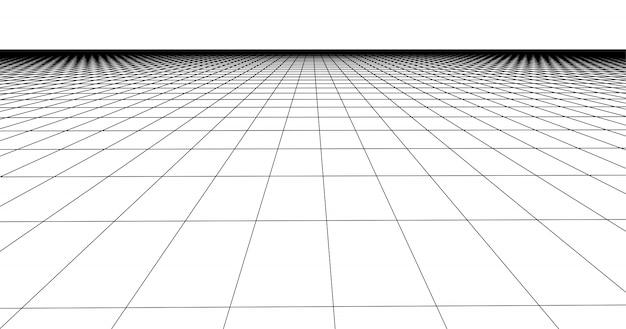 遠近法グリッド床タイル。白い背景の詳細な線。