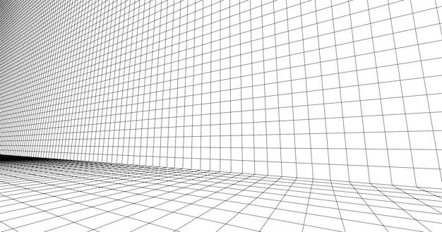 Перспективная сетка напольная плитка. подробные линии на белом фоне.