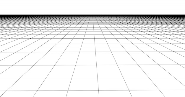 Perspective grid floor tile. detailed lines on white background.