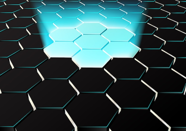 Perspective hexagonal background with blue lights up