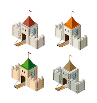 A perspective isometric set view