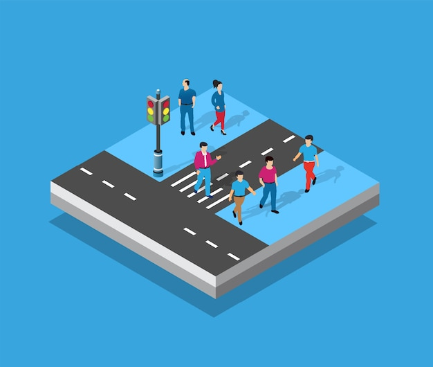 上から透視等角図道路