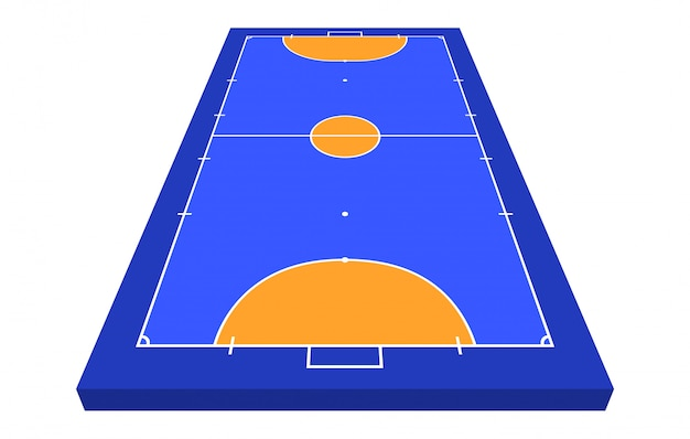 Perspective view field for futsal. orange outline of lines futsal field  illustration.