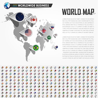 Perspective world map and gps navigator location pin