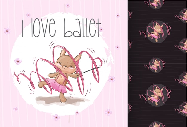 Pertty cute  squirrel ballerina seamless pattern