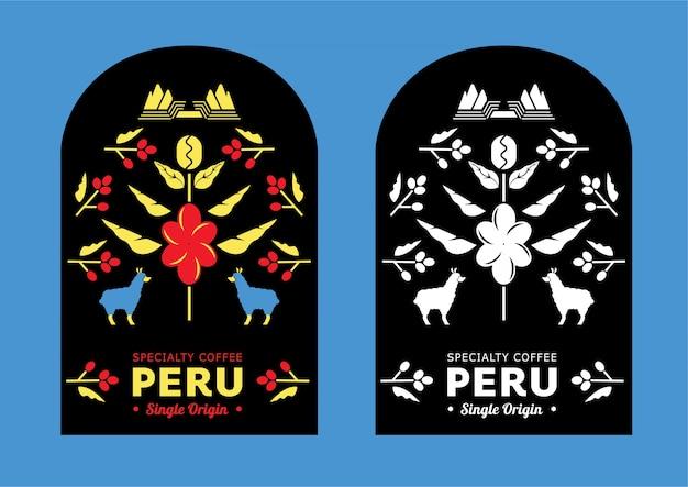 Peru coffee label with mountain lama