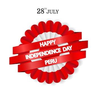Peru independence day. cockade national symbol of peru.