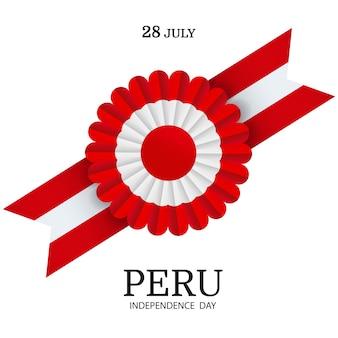 Peru independence day. сockade national symbol of peru.