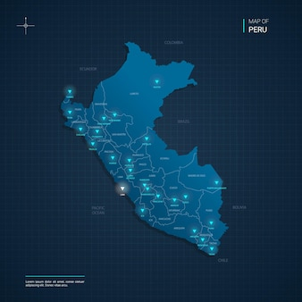 Peru map with blue neon light points