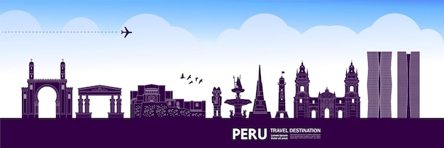 ペルー旅行先ベクトルイラスト。