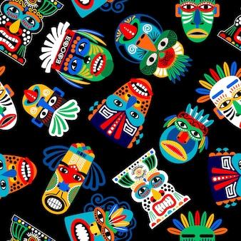 Peru warrior mask seamless pattern