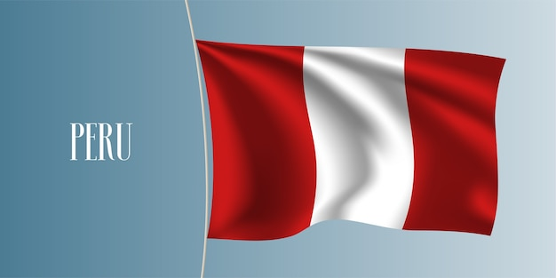 Peru waving flag. iconic national peruvian symbol