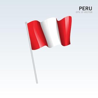 페루 회색에 고립 된 깃발을 흔들며