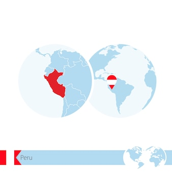 Peru on world globe with flag and regional map of peru. vector illustration.