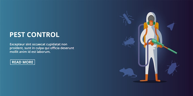 Pest control banner horizontal, cartoon style