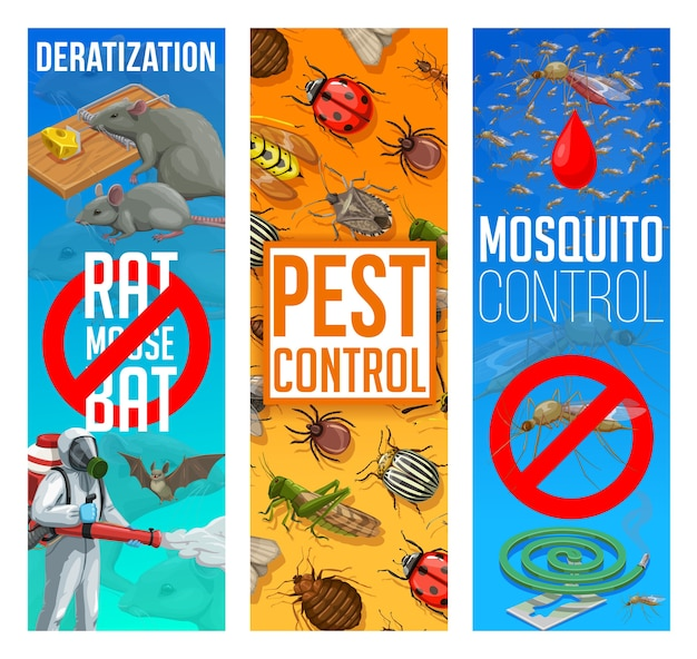 Pest control, disinfestation and deratization  banners. sanitary service, domestic pest control disinfection and fumigation of mosquito and bugs, rodents and parasites insects extermination