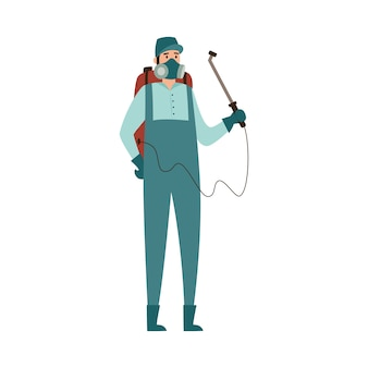 Pest control exterminator spraying toxic spray illustration