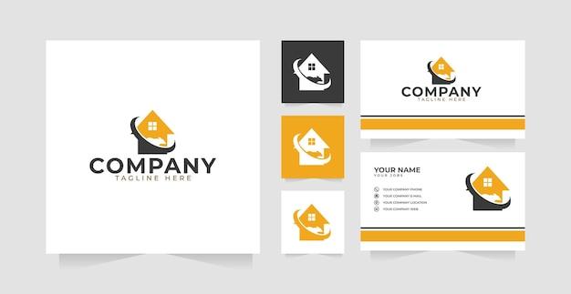 Дизайн логотипа дома для борьбы с вредителями и визитная карточка
