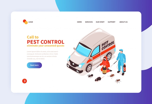 Pest control house hygiene disinfection service online concept isometric home page  banner with specialists arrival