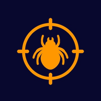 Pest control icon with a bug, vector