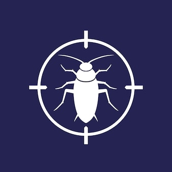 Pest control icon with a roach, vector sign