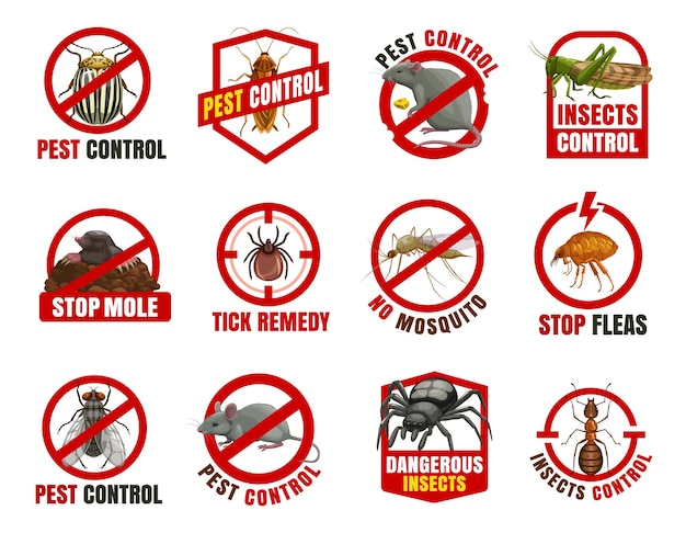 Значки борьбы с вредителями. колорадский жук, таракан и крыса с саранчой, крот, клещ и комар с блохами. муха, мышь и паук с запретом муравьев, опасные насекомые предупреждают