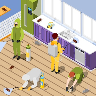 Pest control isometric background