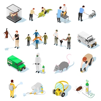 Pest control isometric icons