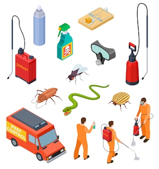 Pest control isometric. insect fumigation rodent poison exterminator specialist  sanitary disinfection pest disinfectant  set