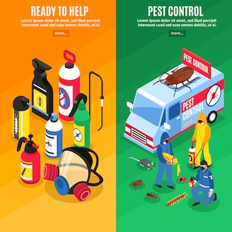 Pest control isometric vertical banners