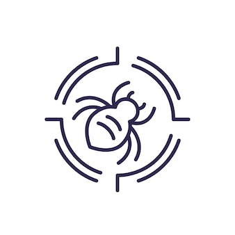 Pest control line icon with a bug