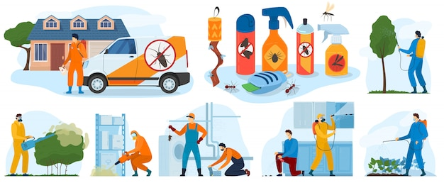 Pest control services, insects exterminator with insecticide spray and in protection cloths  icons   illustration.