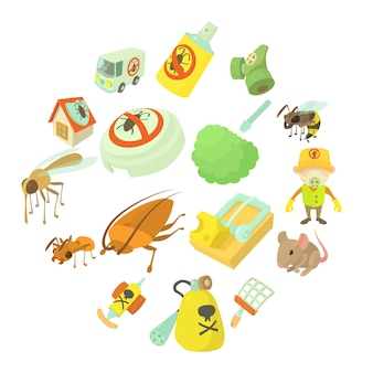 Pest control terminate icons set, cartoon style