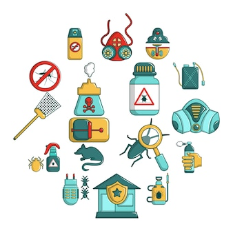 Pest control tools icons set, cartoon style