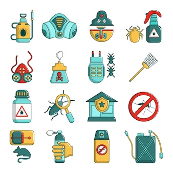 Pest control tools icons set